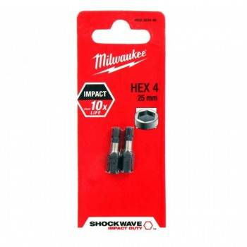 Биты для шуруповерта Milwaukee Shockwave Impact Duty Hex 4 - 25 мм